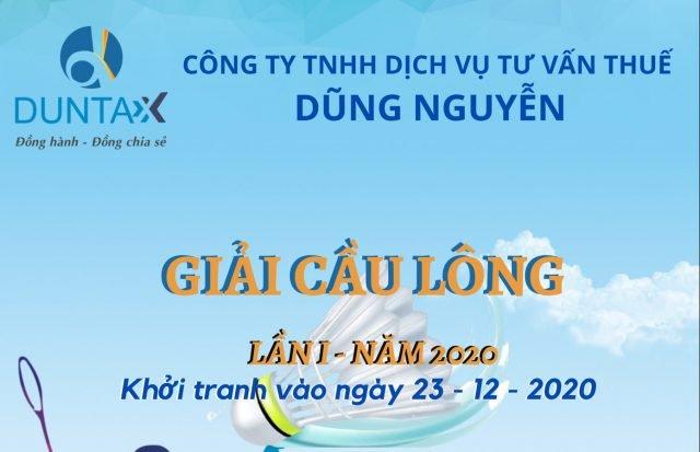 Giải cầu lông công ty Dũng Nguyễn Lần I năm 2020