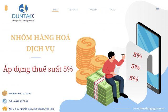 Nhóm hàng hoá, dịch vụ áp dụng thuế suất GTGT 5%
